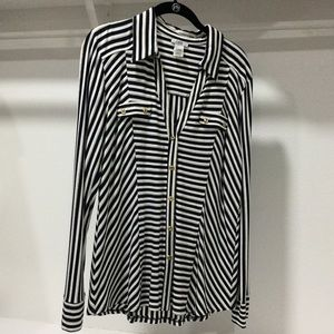 Cache Long Sleeve striped Blouse